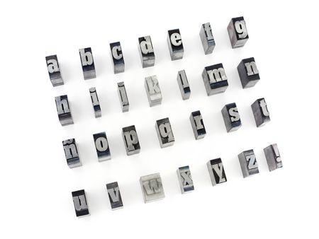 Drucker-Blöcke mit spanischen Alphabet. Kleinbuchstaben. Standard-Bild - 2397740