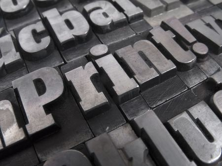 printing press: Printers blocks with the word Printing Stock Photo