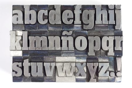 Printers blocks with spanish alphabet. Lower case letters. photo