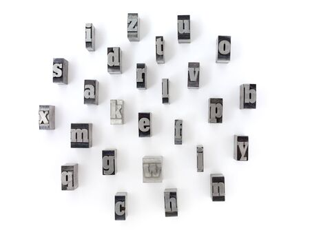 Printers blocks with english alphabet. Lower case letters. photo