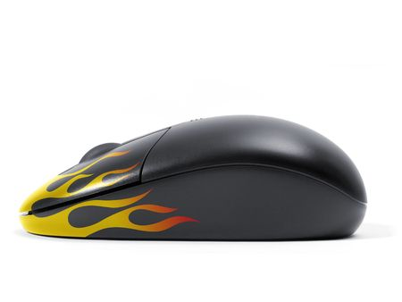 Wireless black computer mouse optical. Fast speed computer concept.