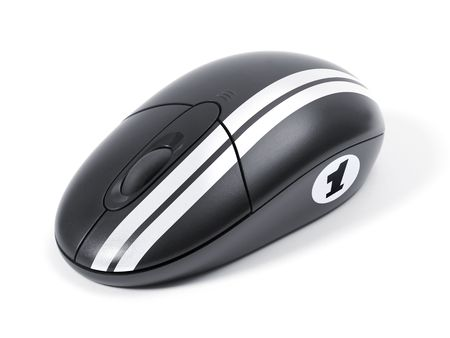 Wireless black computer mouse optical. Fast speed computer concept. photo