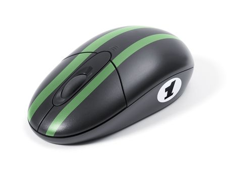 Wireless black computer mouse optical. Fast speed computer concept. Stock Photo - 2425076