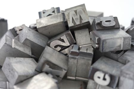 Printers blocks. Lower and upper case letters. Stock Photo
