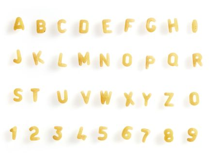Alphabet made with letter soup pasta.