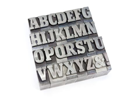 Printers blocks with english alphabet. Upper case letters. Stock Photo