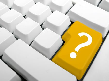 Computer keyboard. Enter key replace with yellow interrrogation key. Question key concept. Stock Photo - 2487168