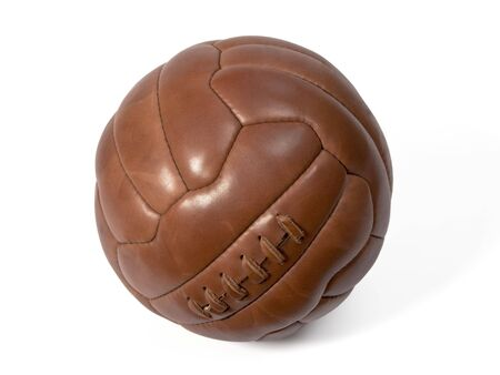 leather ball: Viejo bal�n de cuero para jugar al f�tbol.