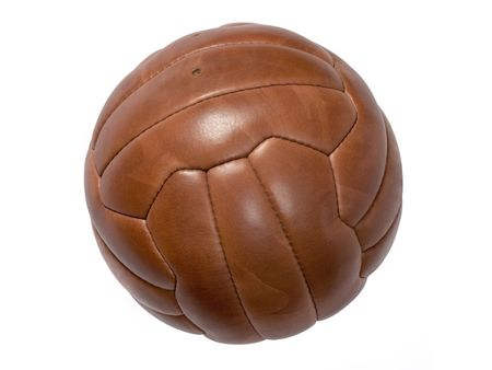 Old leather ball to play soccer. Stock Photo - 2515832
