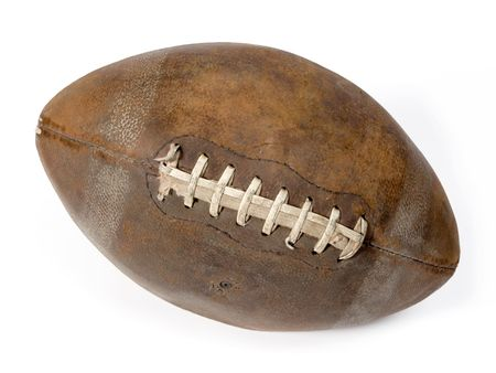 Old leather ball to play rugby. Stock Photo
