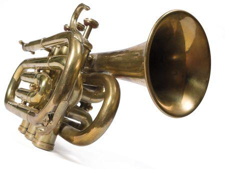 Kurze Messingtrompete lokalisiert auf Weiß. Standard-Bild - 2739302