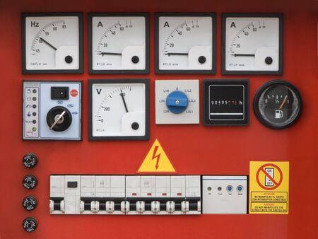 ampere: Control panel of fuel power generator.