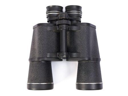 Black binoculars on white background. photo
