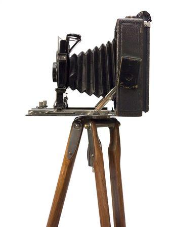 bellow: Antiguo c�mara fotogr�fica con lente de fuelle en madera tr�pode.