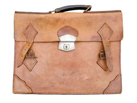 Old leather briefcase isolated on white. photo