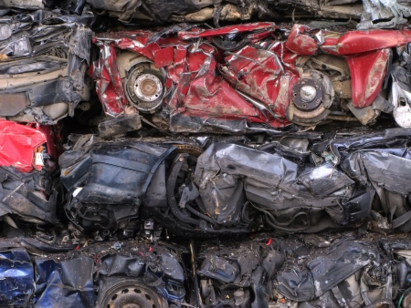 residue: Cars scrapped ready to recycle. Stock Photo