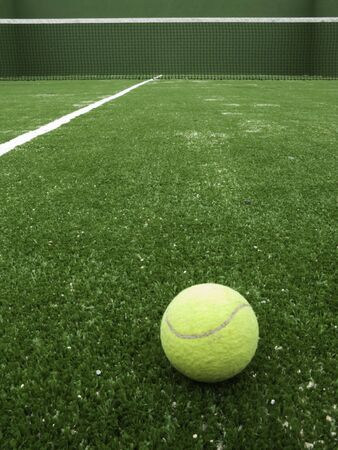 paddle: Tennis ball on synthetic grass of paddle court.