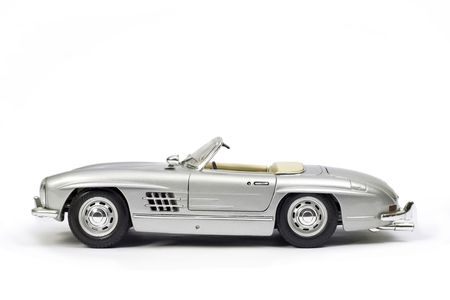 supercar: Classical sport car model toy. Side view. Stock Photo