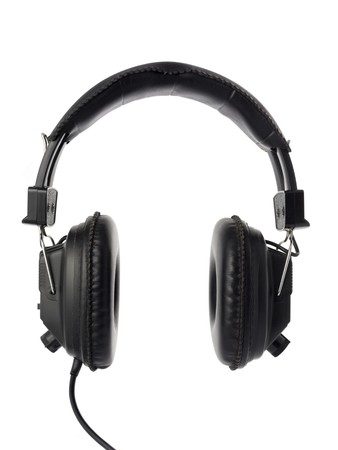 Black headphones isolated on white. photo