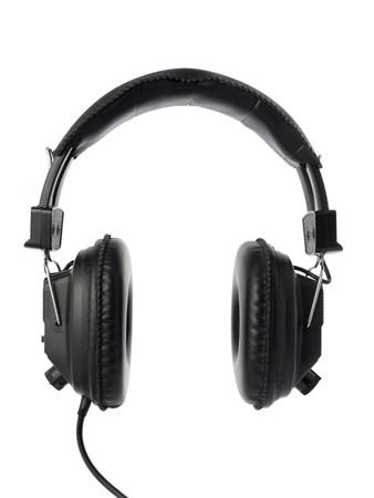 Black headphones isolated on white.