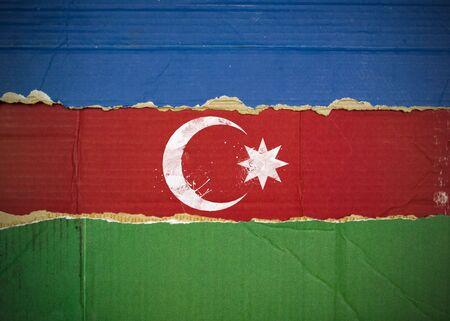 Flag of Azerbaijan made with corrugated cardboard photo