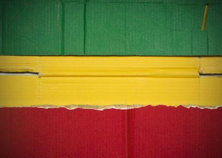 Flag of Ethiopia  made with corrugated cardboard