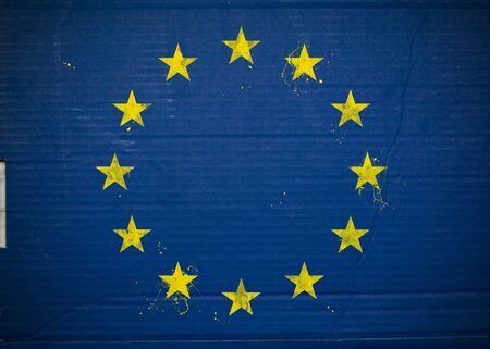 Flag of European Economic Community, EEC made with corrugated cardboard