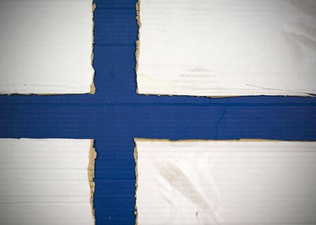 Flag of Finland made with corrugated cardboard