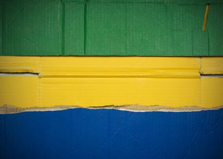 Flag of Gabon made with corrugated cardboard Stock Photo
