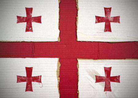 Flag of Georgia made with corrugated cardboard Stock Photo
