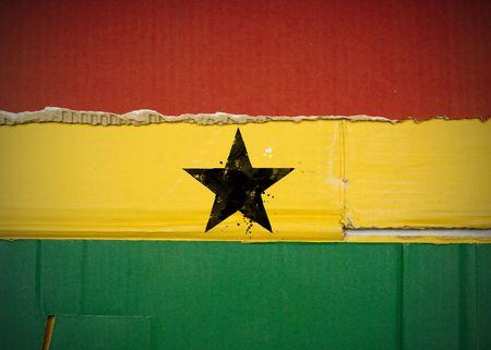 Flag of Ghana made with corrugated cardboard Stock Photo