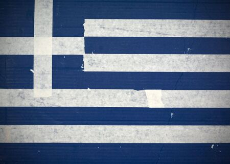 Flag of Greece made with corrugated cardboard