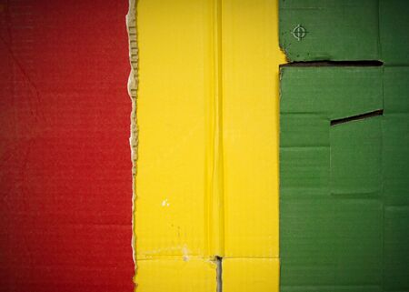 Flag of Guinea made with corrugated cardboard Stock Photo