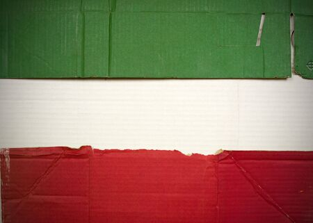 Flag of Iran made with corrugated cardboard