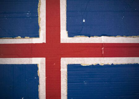 Flag of Iceland made with corrugated cardboard Stock Photo