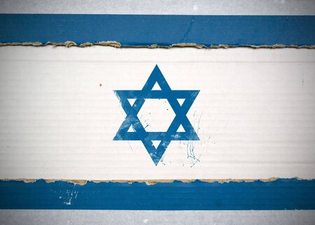 Flag of Israel made with corrugated cardboard