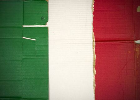 Flag of Italy, Mexico made with corrugated cardboard