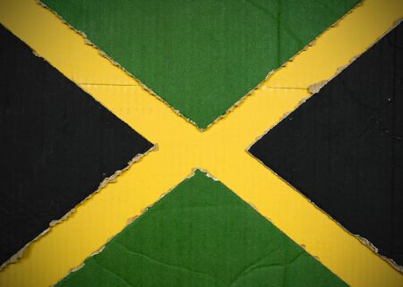 Flag of Jamaica made with corrugated cardboard