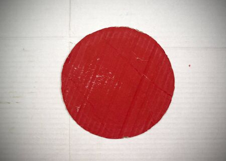 Flag of Japan made with corrugated cardboard