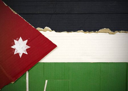 Flag of Jordan made with corrugated cardboard Stock Photo
