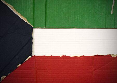 Flagge von Kuwait aus Wellpappe Standard-Bild - 5119077