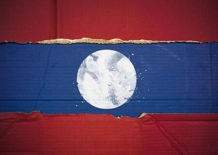 Flag of Laos made with corrugated cardboard