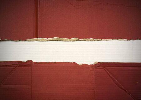 Flag of Latvia made with corrugated cardboard Stock Photo