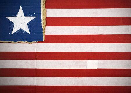 Flag of Liberia made with corrugated cardboard