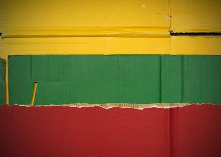 Flag of Lithuania made with corrugated cardboard