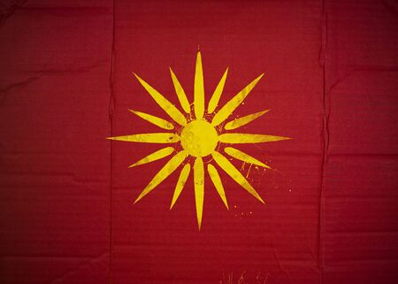 Flag of Republic of Macedonia made with corrugated cardboard