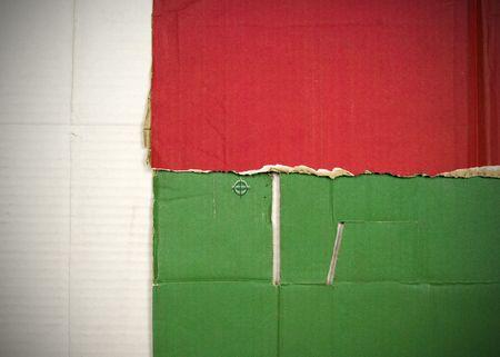 Flag of Madagascar made with corrugated cardboard Stock Photo