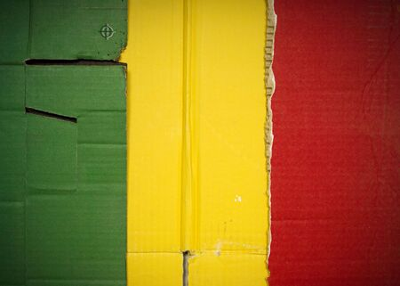 Flag of Mali made with corrugated cardboard