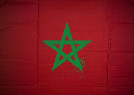Flag of Morocco made with corrugated cardboard