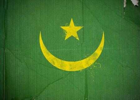 Flag of Mauritania made with corrugated cardboard Stock Photo